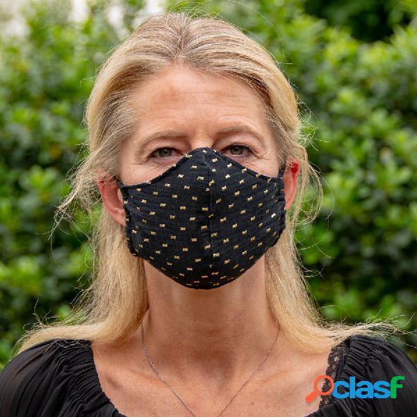 Masque de protection en tissu adulte noir et cubes dorés