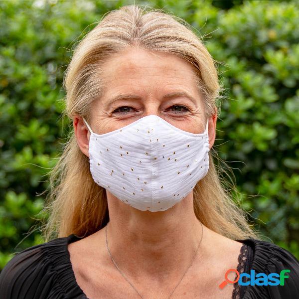 Masque de protection en tissu adulte blanc et pois dorés