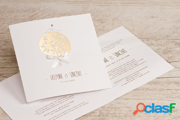 Faire-part mariage arbre de vie doré | buromac 106040