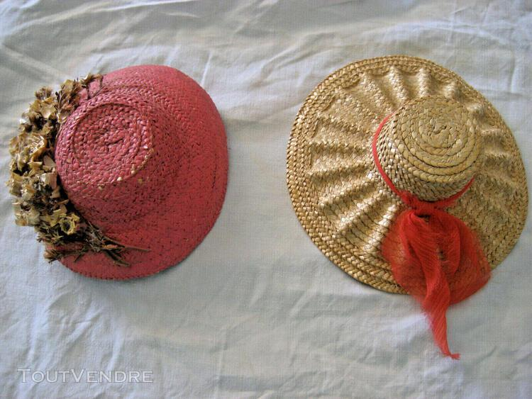 2 anciens chapeaux poupée jumeau sfbj bru steiner celluloid