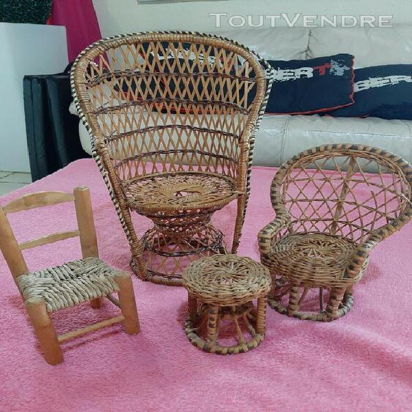 Lot de petits fauteuils en osier rotin,vintage70s pour poup