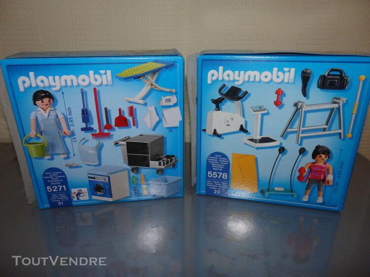 Playmobil lot g - boites 5271 buanderie fer + 5578 salle de