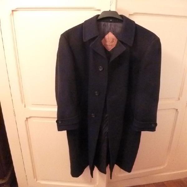 Très beau manteau bleu marine droit long en laine-