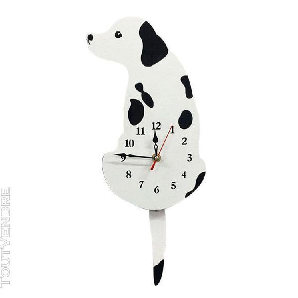 Queue chat chien design horloge tenture murale horloge blanc