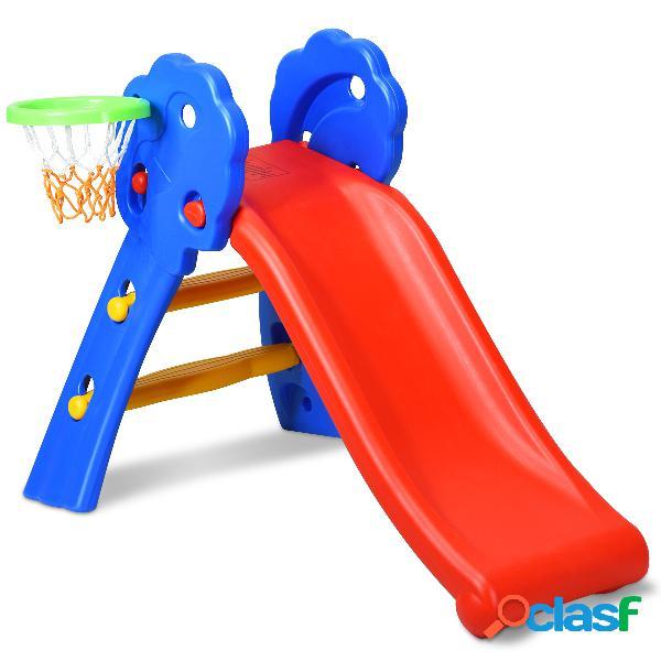 Costway toboggan rabattant glisser goulotte pour enfants de 3-8 ans 108 x 68 x 71 5 cm