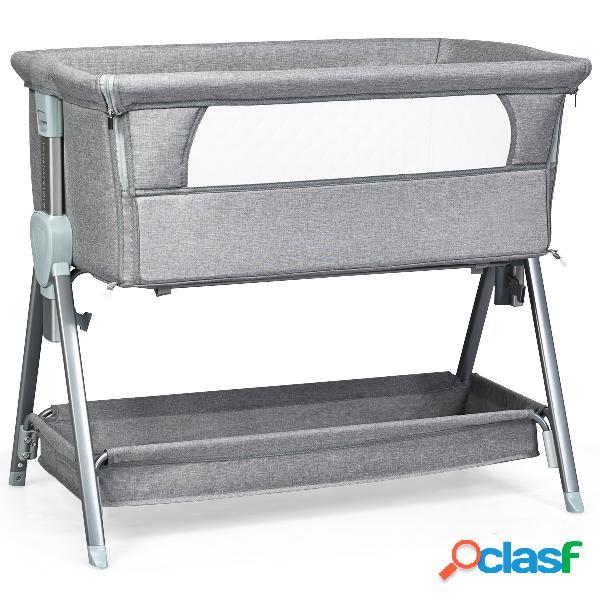 Costway lit cododo pour bébé 0-6 mois à 15kg hauteurs réglables avec matelas amovible 3 5cm gris