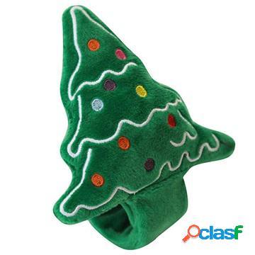Cute christmas-themed plush slap bracelet - christmas tree