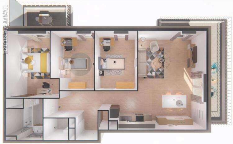 Appartement t4 de 81m² + 2 terrasses au 7ème et dernier