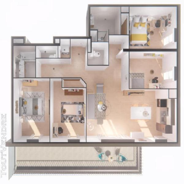 Appartement t5 de 96m² + terrasse de 25m² au 7ème et