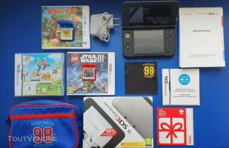 Nintendo 3ds xl console noir gris 3 jeux stylet sacoche char