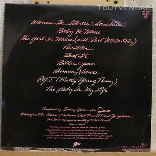 33 t vinyl - michael jackson - thriller - 1er pressage
