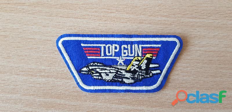 écusson brodé top gun F 14 tomcat 8,5x4 cm thermocollant, pas besoin de couture