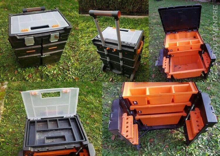 Grande boite à outils orange noir plusieurs compartiments