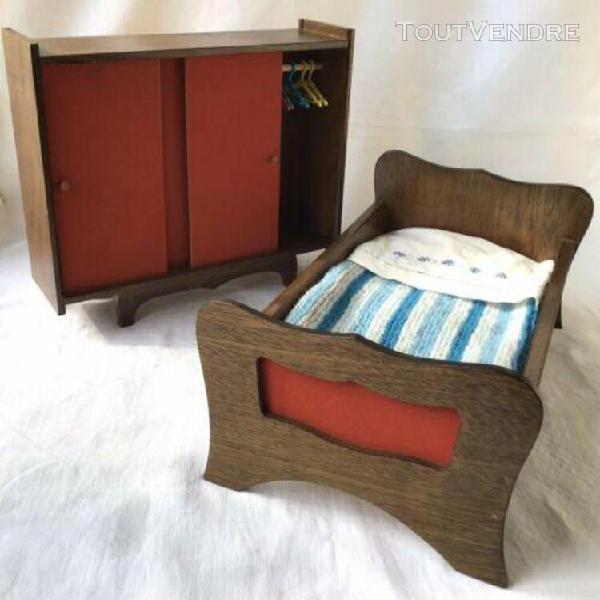 Lit + armoire de poupée chambre en bois vintage années 70