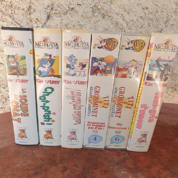 Cassettes vhs dessins animés tom et jerry titi et grosminet