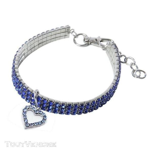 Collier bleu l de chat strass animal en forme de coeur colli