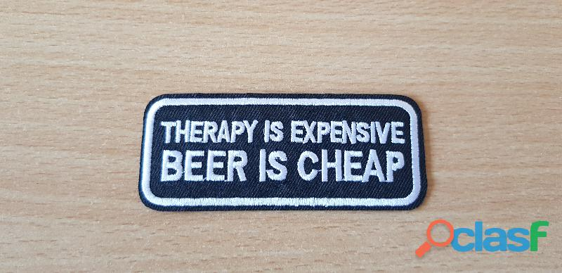 ecusson brodé patch humour therapy is expensive beer is cheap 9x3 5 cm thermocollant