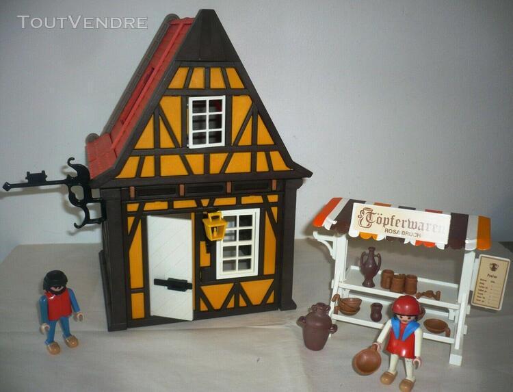 Playmobil klicky vintage medieval moyen age maison du potier