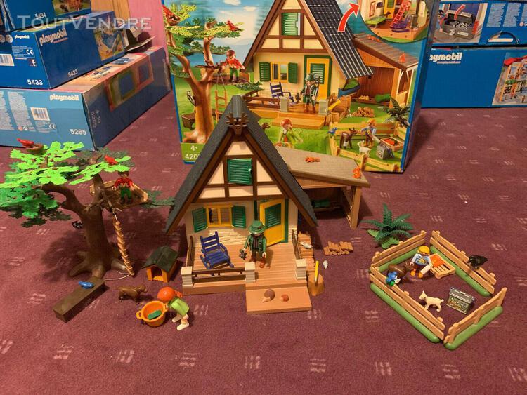 Maison forestiere playmobil 4207 4492 4767 avec boites et no