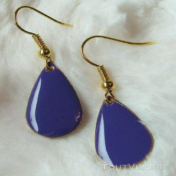 Boucles d'oreille goutte pendante violet émaillée jolie