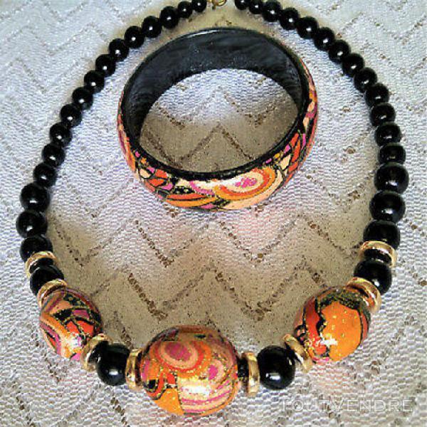 Parure collier + bracelet perles colorées vernies