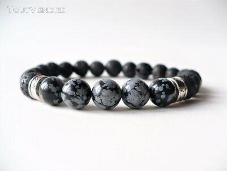 Bracelet élastique obsidienne mouchetée / pierres de lave