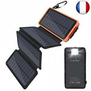 Oxsaytee batterie externe 25000mah power bank solaire,