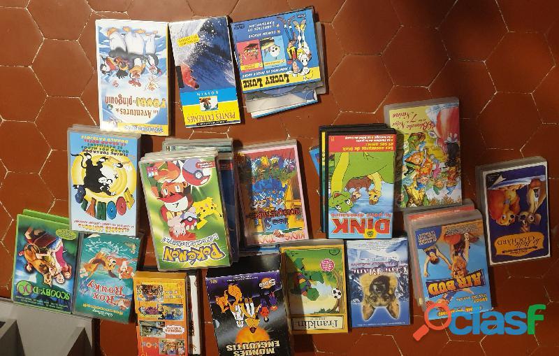 Vends lot de cassettes video et DVD pour enfant