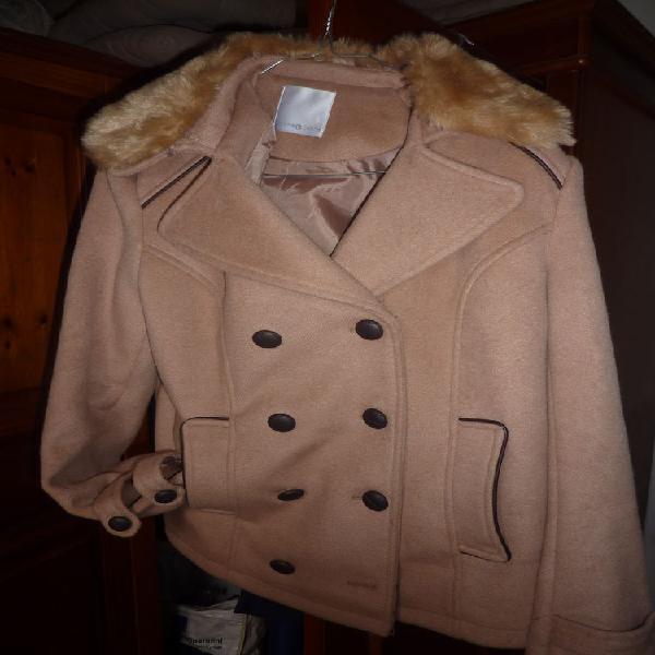 Manteau court cache-cache 3 beige très chaud occasion,