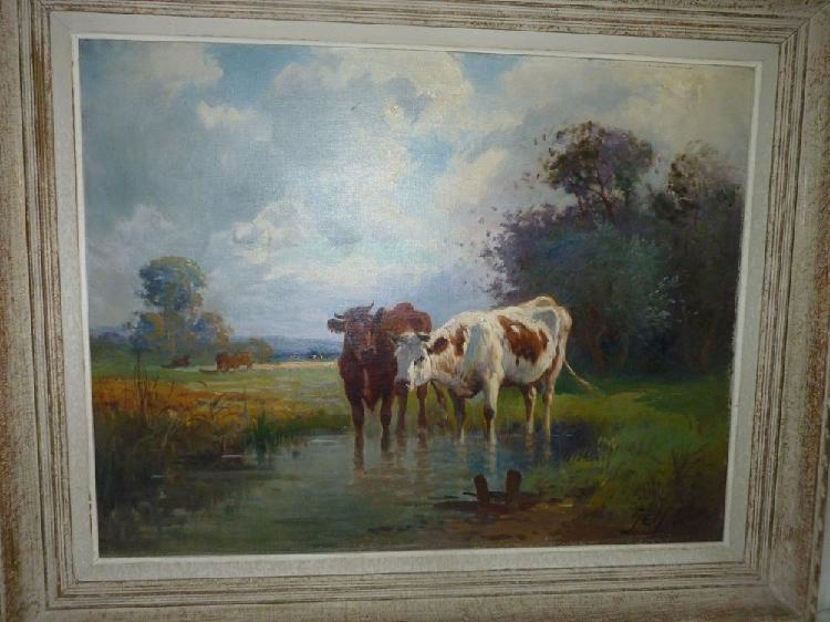 Ancienne peinture à l'huilre signé gely occasion, bourges