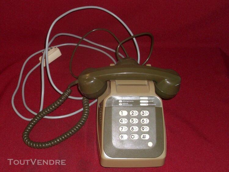 Téléphone ancien à cadran socotel s63 marron - vintage