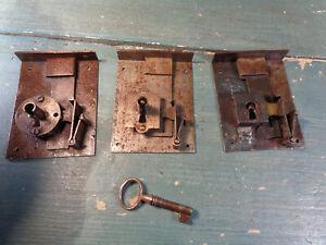 3 anciennes serrure xx ème fer laiton tiroir commode