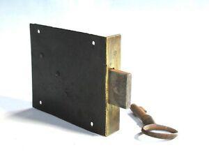 Serrure ancienne fer et laiton verrou clefs meubles jamais