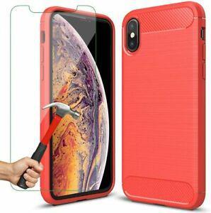Coque iphone xs max rouge + film verre trempé, housse max,