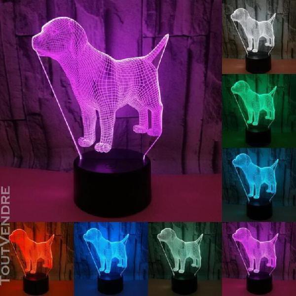 Beau chien 3d led lampe 7 couleurs usb tactile led nuit lumi