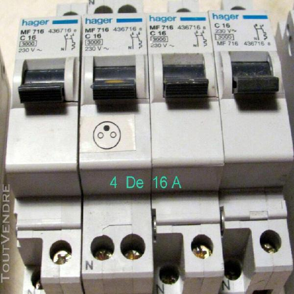 20  Amp HAGER   série MF 10 16 lot de 4 disjoncteur 2 poles  2