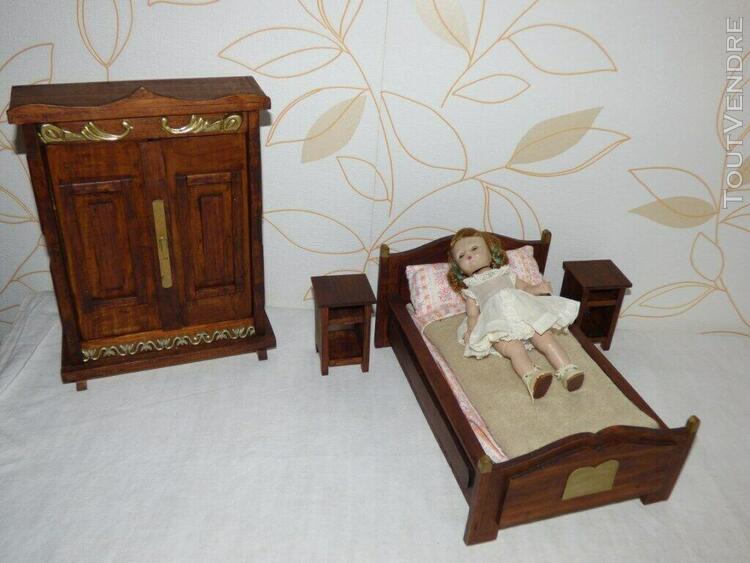 Vintage poupon poupee chambre a coucher complete en bois lit