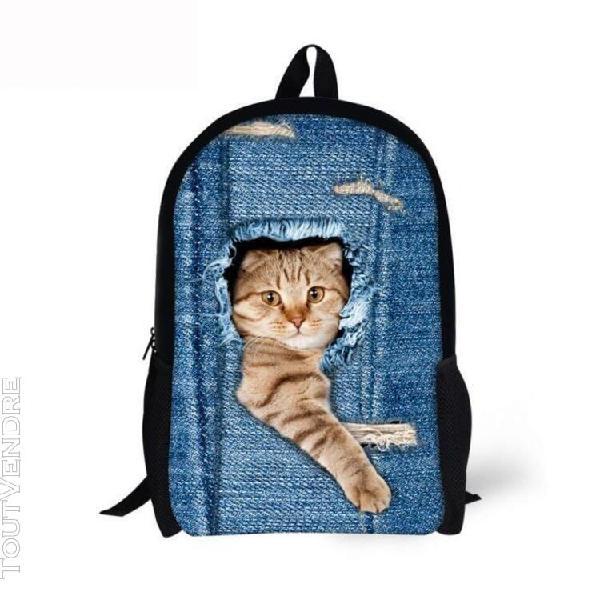 Chien chat animal print 3d sac à dos élève du secondaire