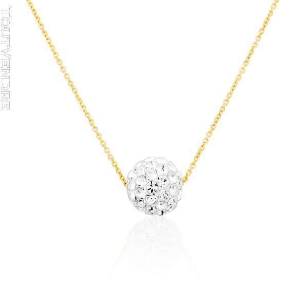 Collier cleor en or 375/1000 jaune et cristal