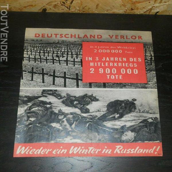 Rare grand tract allié propagande 21,5 x 13,5 capitulation