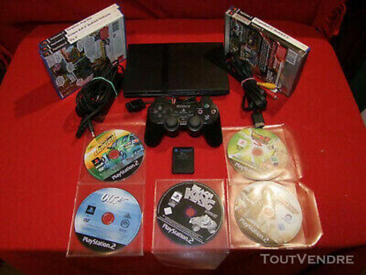 Console playstation 2 slim ps2 noir + 10 jeux + 1 manette +