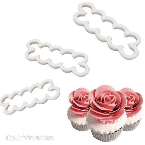 3 pièces/ensemble 3d gâteau plus facile pétale de rose