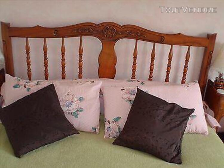 Chambre coucher noyer massif style louis xv lit 140 + 2 tabl