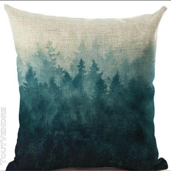 Housse de coussin déco toile de lin et coton beige forêt