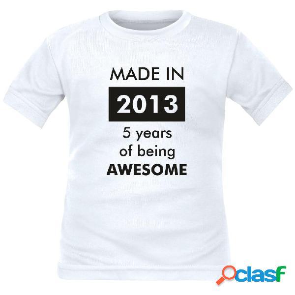 T-shirt enfant drôle à personnaliser: made in... - blanc 2 ans courtes