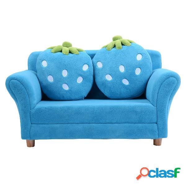 Costway canapé sofa enfant 2 oreillers meubles chambre d'enfant jeu confort repos bleu