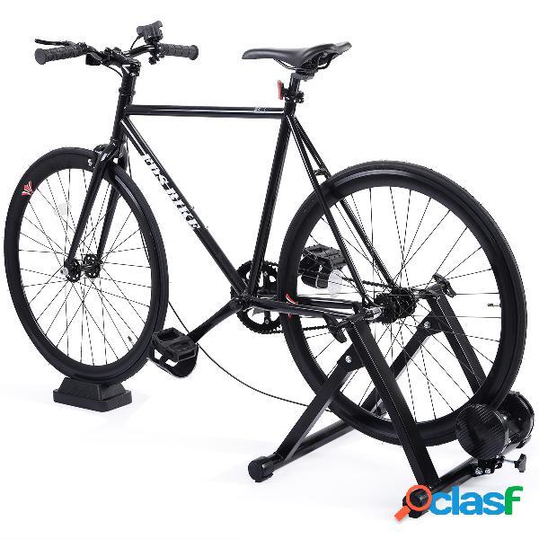 Costway entraîneur de vélo magnétique avec 5 niveaux de résistance entraîneur turbo pour vélo pliable noir