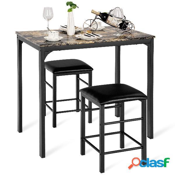 Costway set de table et 2 chaises ensemble table et chaises cuisine en mdf+eponge 90 x 60 x 82 cm