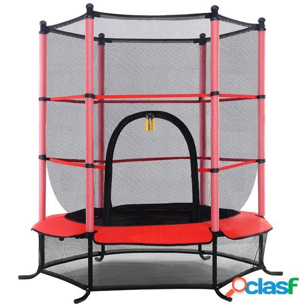 Costway trampoline de jardin enfant 140cm de diamètre avec filet de sécurité rouge