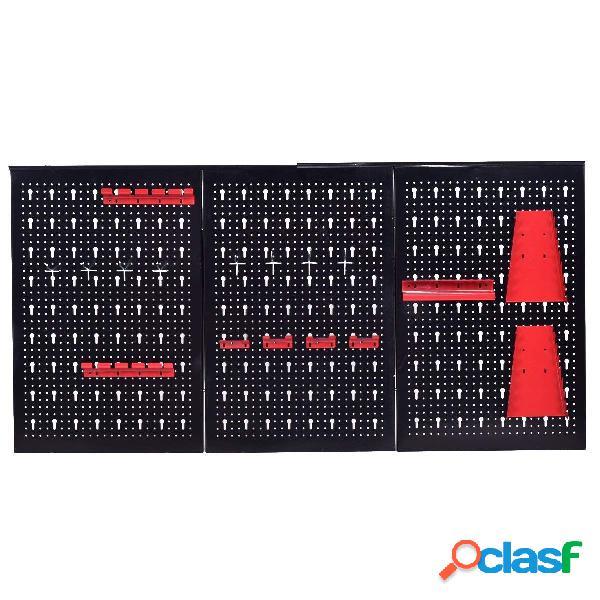 Costway panneau perforé panneaux muraux de rangement pour outils tableau perforé 120 x 60 x 2 cm noir